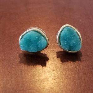 Turquoise crystal style stud earrings